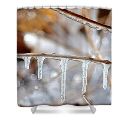 Icicles And Bokeh Shower Curtain by Deb Badt-Covell
