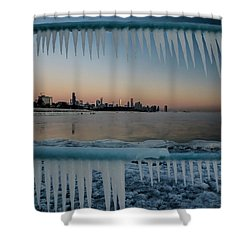 Icicles And Chicago Skyline Shower Curtain