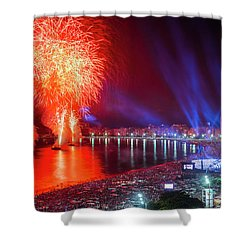 Iconic And Breath-taking Fireworks Display On Copacabana Beach,  Shower Curtain