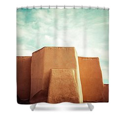 Shower Curtain featuring the photograph Iconic Church In Taos by Marilyn Hunt