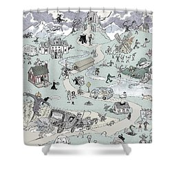 Icons Of Horror Shower Curtain by Barry Munden