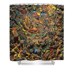 Shower Curtain featuring the mixed media Icy Abstract 4 by Sami Tiainen