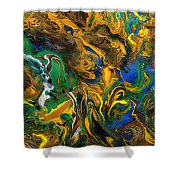 Shower Curtain featuring the mixed media Icy Abstract 9 by Sami Tiainen