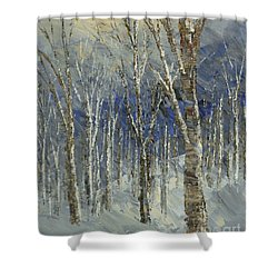 Shower Curtain featuring the painting Icy Bells by Tatiana Iliina