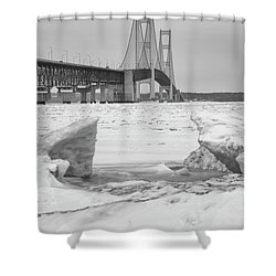 Shower Curtain featuring the photograph Icy Black And White Mackinac Bridge  by John McGraw
