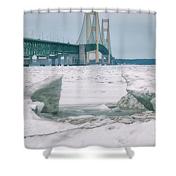 Shower Curtain featuring the photograph Icy Day Mackinac Bridge  by John McGraw