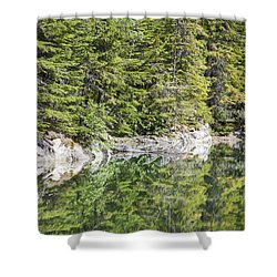Icy Lake Reflections Shower Curtain