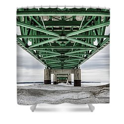 Shower Curtain featuring the photograph Icy Mackinac Bridge In Winter by John McGraw