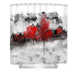 Icy Red Landscape Shower Curtain
