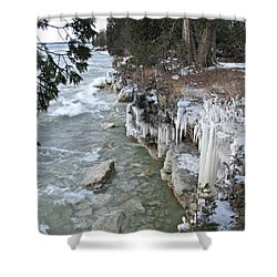 Shower Curtain featuring the photograph Icy Shores by Greta Larson Photography