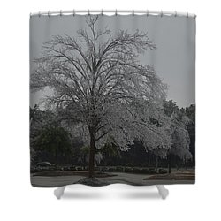 Icy Tree Shower Curtain