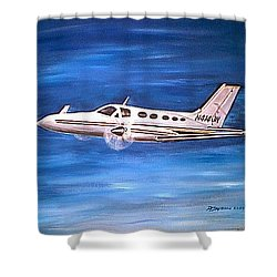 Shower Curtain featuring the painting I'd Rather Be Flying by Patricia L Davidson