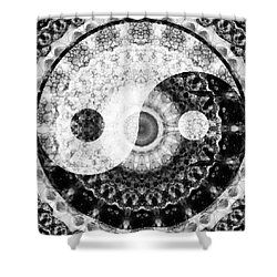 Shower Curtain featuring the painting Ideal Balance Black And White Yin And Yang By Sharon Cummings by Sharon Cummings