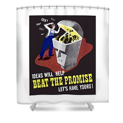 Shower Curtain featuring the digital art Ideas Will Help Beat The Promise by War Is Hell Store