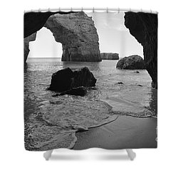 Idyllic Cave In Monochrome Shower Curtain