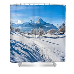 Idyllic Landscape In The Bavarian Alps, Germany Shower Curtain