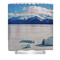 Igloo On Atlin Lake - Bc Shower Curtain by Juergen Weiss