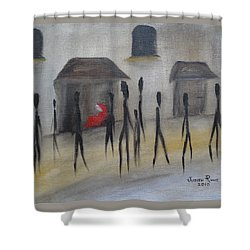 Shower Curtain featuring the painting Ignoring The Homeless by Judith Rhue