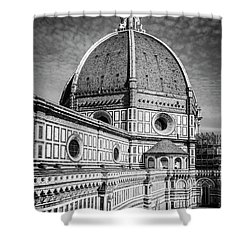 Shower Curtain featuring the photograph Il Duomo Florence Italy Bw by Joan Carroll