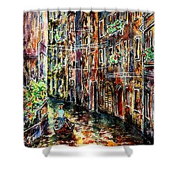 Shower Curtain featuring the painting Il Giro Finale Del Gondoliere by Alfred Motzer