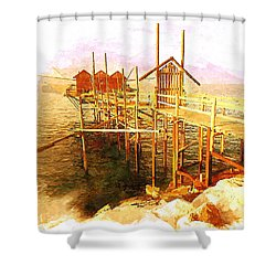 Il Grande Trabucco - Trebuchet Fishing Shower Curtain