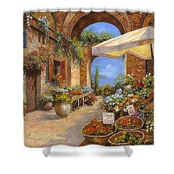 Il Mercato Del Lago Shower Curtain by Guido Borelli