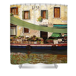 il mercato galleggiante a Venezia Shower Curtain by Guido Borelli