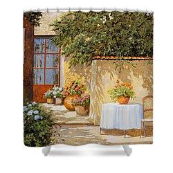 Il Muretto E Il Tavolo Shower Curtain by Guido Borelli