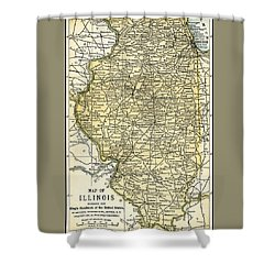 Illinois Antique Map 1891 Shower Curtain