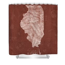 Illinois Map Music Notes 5 Shower Curtain