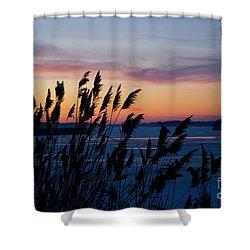 Illinois River Winter Sunset Shower Curtain