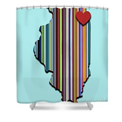 Shower Curtain featuring the mixed media Illinois With Love Geometric Map by Carla Bank