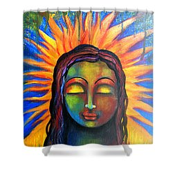 Shower Curtain featuring the mixed media Illuminated By Her Own Radiant Self by Prerna Poojara