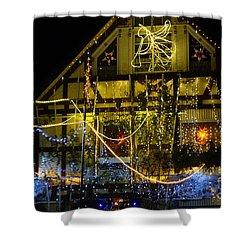 Illuminated Christmas-house Shower Curtain
