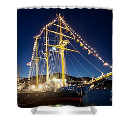 Illuminated Sailing Ship Shower Curtain by Aiolos Greek Collections
