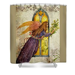 Illustrated Angel And Lily Shower Curtain