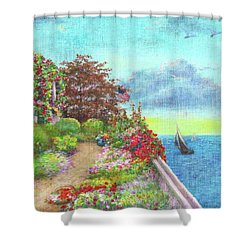 Illustrated Beach Cottage Water's Edge Shower Curtain
