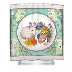 Shower Curtain featuring the painting Illustrated Bunny With Easter Floral by Judith Cheng