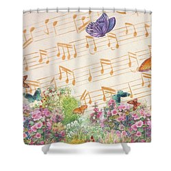 Shower Curtain featuring the painting Illustrated Butterfly Garden With Musical Notes by Judith Cheng