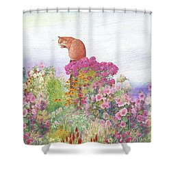 Illustrated Cat In Garden Shower Curtain