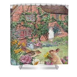 Illustrated English Cottage With Bunny And Bird Shower Curtain by Judith Cheng