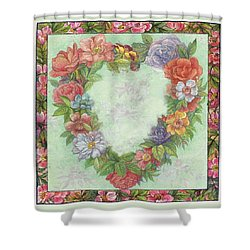 Shower Curtain featuring the painting Illustrated Heart Wreath by Judith Cheng