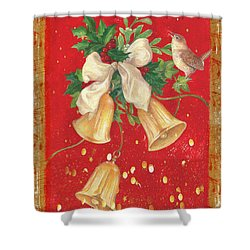 Illustrated Holly, Bells With Birdie Shower Curtain