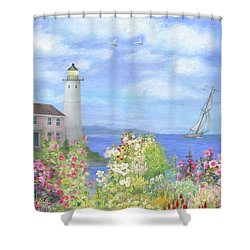 Illustrated Lighthouse By Summer Garden Shower Curtain