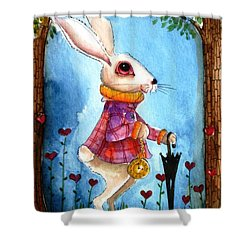 I'm Late Shower Curtain by Lucia Stewart