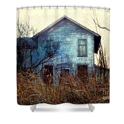 Shower Curtain featuring the photograph I'm Not Home Right Now, Please Leave A Message - Abandoned Farmhouse by Janine Riley