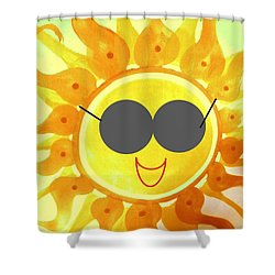 Shower Curtain featuring the painting I'm Too Hot For My Shades by Denise Fulmer