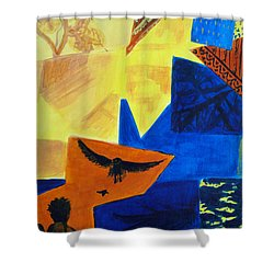 Shower Curtain featuring the painting Imagination by Maria Langgle