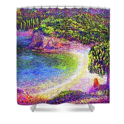 Shower Curtain featuring the painting Imagine, Meditating In Beautiful Bay,seascape by Jane Small