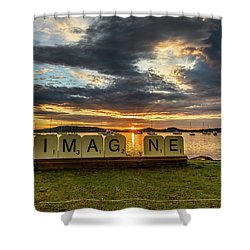 Imagine Sunrise Waterscape Over The Bay Shower Curtain
